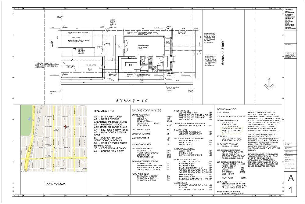 New home drawings landmarkk for Denver adu builders